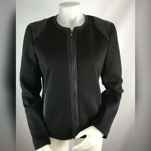 Ann Taylor Faux Leather Moto Jacket Blazer